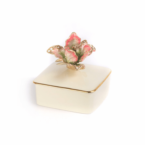 Jay Strongwater Lainey Tulip Porcelain Box - Rose Celadon