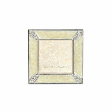 Jay Strongwater Leland Pave Corner 2in. Square Frame - Pearl