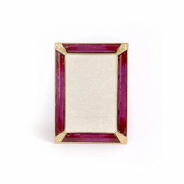 Jay Strongwater Leonard Pave Corner 4in. x 6in. Frame - Vibrant Berry