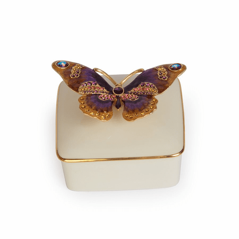 Jay Strongwater Lilliana Butterfly Porcelain Box