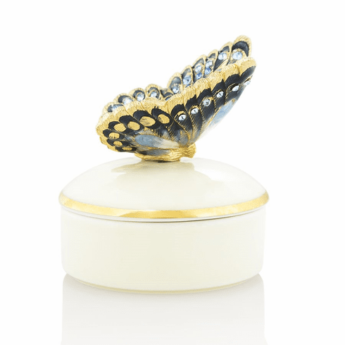 Jay Strongwater Lisa Butterfly Round Porcelain Box