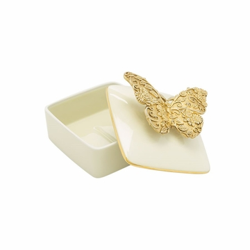Jay Strongwater Liz Gilded Butterfly Porcelain Box
