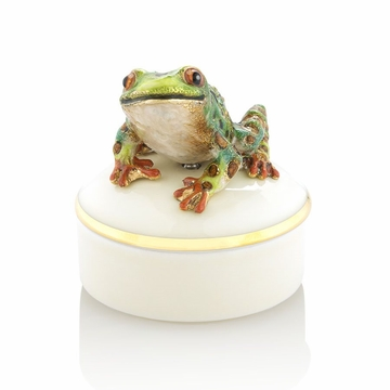 Jay Strongwater Mac Frog Round Porcelain Box