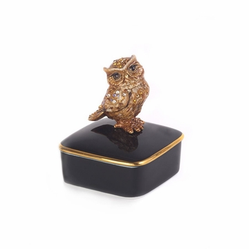 Jay Strongwater Seymour Owl Porcelain Box