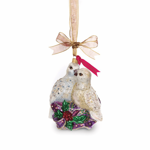 Jay Strongwater Two Turtle Doves Glass Ornament