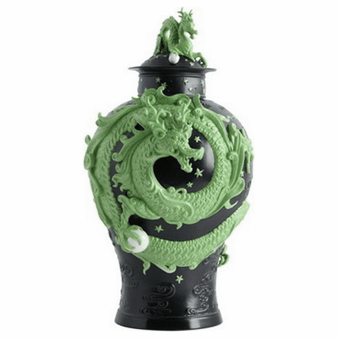 Jean Boggio for Franz Collection Dragon Black Green Ginger Jar