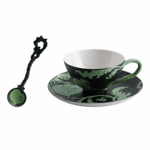 Jean Boggio for Franz Collection Pomegranate Black Green Cup Saucer and Spoon Set