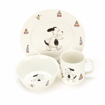 Jellycat Bashful Black & Cream Puppy Bowl, Cup, Plate