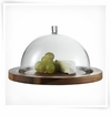 Jenaer Glass Cheese Dome with acacia plate 9.5""