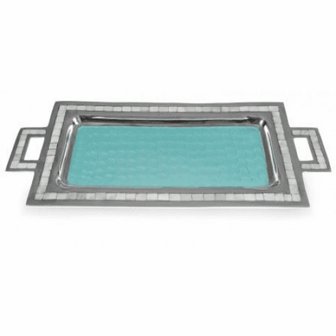 "Julia Knight Classic 25"" Rectangular Tray With Handles Aqua"