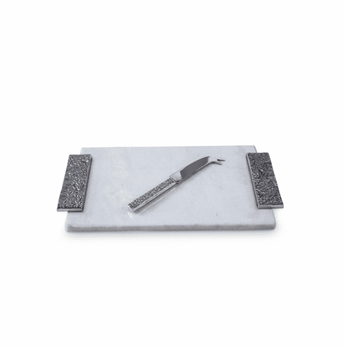 Julia Knight Eclipse Marble Cheese Tray with Cheese Knife White