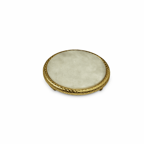 """Julia Knight Florentine 11"""" Marble Cheese Tray Gold"""