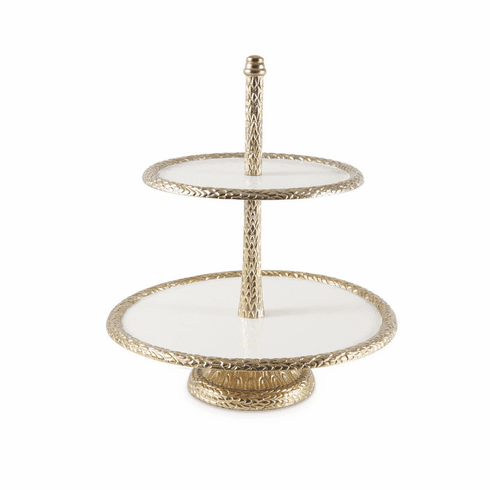 """Julia Knight Florentine 13.5"""" Two-Tiered Server Gold Snow"""