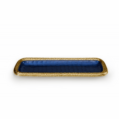 "Julia Knight Florentine 16"" Rectangular Tray Gold Sapphire"