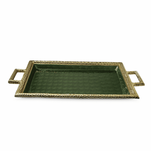 "Julia Knight Florentine 23"" Beveled Tray with Handles Gold Emerald"