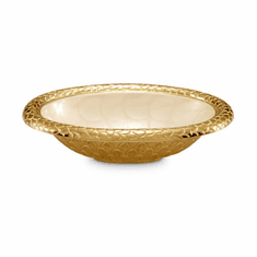"Julia Knight Florentine 8"" Oval Bowl Gold Snow"