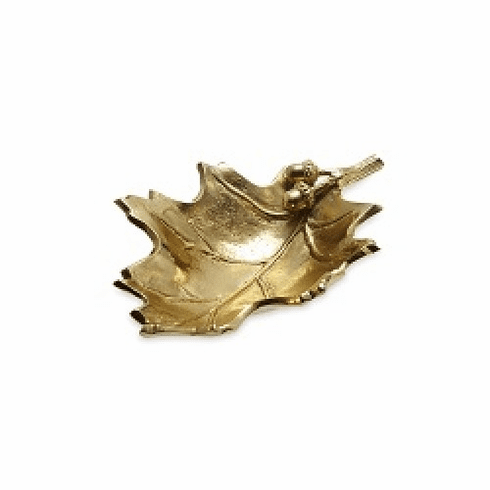 "Julia Knight Oak Leaf 13"" Bowl Gold"