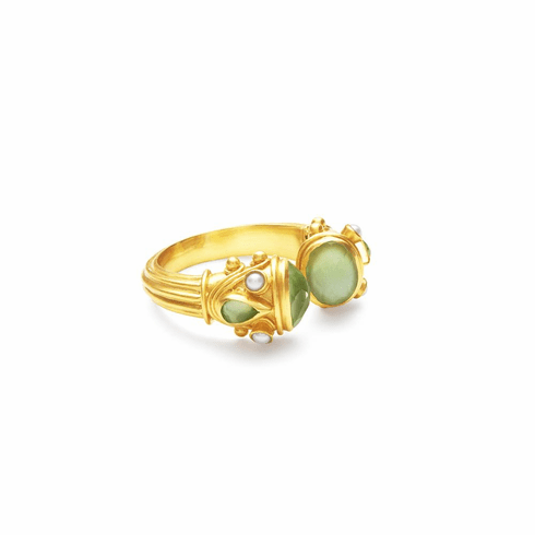 Julie Vos Byzantine Ring Gold Iridescent Peridot Green with Pearl Accents 8/9