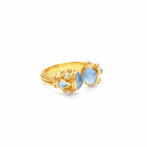 Julie Vos Byzantine Ring - Iridescent Chalcedony Blue, Size 6/7