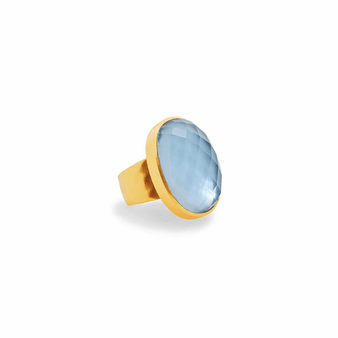 Julie Vos Savannah Statement Ring - Iridescent Chalcedony Blue, Size 6/7