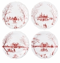 "Juliska Country Estate Winter Frolic ""Mr. & Mrs. Claus"" Ruby Party Plates Set/4"