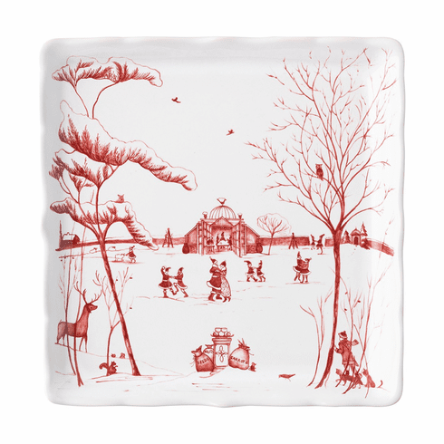 """Juliska Country Estate Winter Frolic """"Mr. & Mrs. Claus"""" Ruby Sweets Tray"""