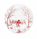 "Juliska Country Estate Winter Frolic ""The Claus' Christmas Day"" Ruby Dessert/Salad Plate"