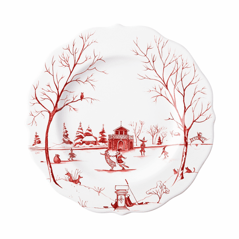 """Juliska Country Estate Winter Frolic """"The Claus' Christmas Day"""" Ruby Dessert/Salad Plate"""
