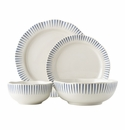 Juliska Sitio Stripe Indigo 4pc Place Setting (KW01/046, KW02/046, KW07/046, KW08X/046)