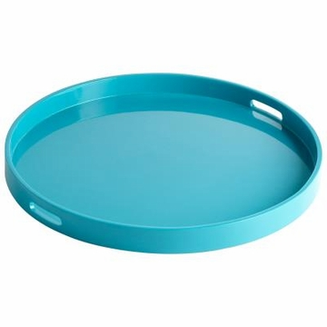 Large Modern Round Teal Wood Tray by Cyan Design