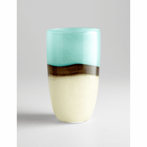Large Turquoise Earth Blue Glass Vase by Cyan Design