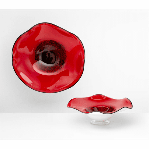 Large Wavy Red Art Glass Bowl by Cyan Design