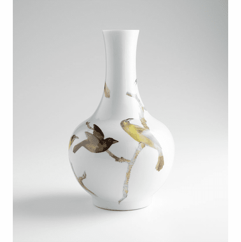 Large White Ceramic Bird Vase by Cyan Design