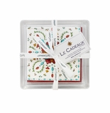 Le Cadeaux Allegra Red  Cocktail Napkins (30pk) and Acrylic Holder Gift Set