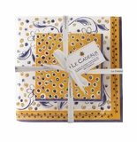 Le Cadeaux Benidorm Gift Set Patterned Paper Cocktail And Dinner Size Napkins W/ Ribbon 20Pk