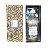 Le Cadeaux Boxed Gift Set Of Liquid Hand Wash 16.6 Oz/473 Ml With Matching Tea Towel - Fresh Sicilian Lemon (Benidorm)