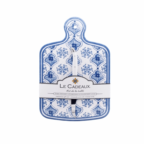 Le Cadeaux Cheese Board With Knife Moroccan Blue