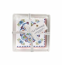 Le Cadeaux Cocktail Napkins In Acrylic Holder Gift Set With Ribbon And Tag (Pack Of 30) Madrid White
