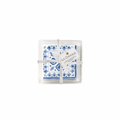 Le Cadeaux Cocktail Napkins In Acrylic Holder Gift Set With Ribbon And Tag (Pack Of 30) Moroccan Blue