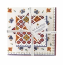 Le Cadeaux Florence Gift Set Of Patterned Cocktail And Dinner Size Napkins (Pack Of 20) W/ Ribbon & Tag