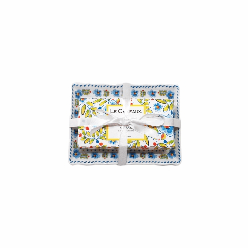 Le Cadeaux Fresh Milled Bar Soap And Melamine Madrid White Soap Dish Gift Set With Ribbon Tie Packaging  -Rosemary Mint