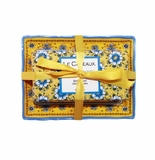Le Cadeaux Fresh Milled Bar Soap And Melamine Soap Dish Gift Set With Ribbon Tie Packaging  - Fresh Sicilian Lemon (Benidorm)