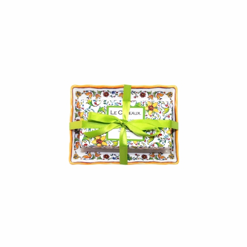 Le Cadeaux Fresh Milled Bar Soap And Melamine Soap Dish Gift Set With Ribbon Tie Packaging  - Zest Of Lime