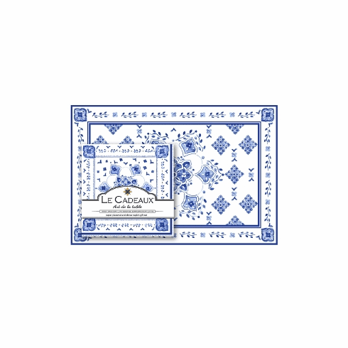 Le Cadeaux Gift Set Of Placemats And Dinner Napkins (Pack Of 20 Each) Moroccan Blue