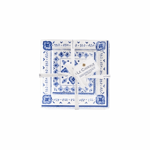 Le Cadeaux Gift Set Patterned Paper Dinner And Cocktail Napkins With Ribbon And Tag Moroccan Blue
