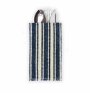Le Cadeaux Jute Flatware Pouch With Cotton Woven Stripe Blue Set of 8