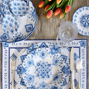 Le Cadeaux Moroccan Blue Dinnerware Collection