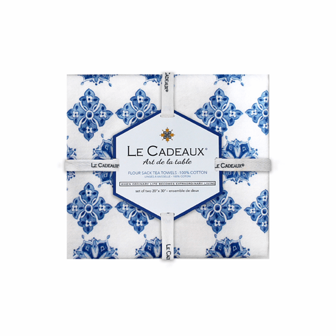 Le Cadeaux Moroccan Blue Gift Set of 2 Tea Towels