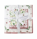 Le Cadeaux Noelle  Gift Set Of Patterned Cocktail And Dinner Size Napkins (Pack Of 20) W/ Ribbon & Tag