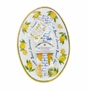 Le Cadeaux Oval Serving Platter With Servers And Matching Tea Towel Gift Set Lemon Basil
